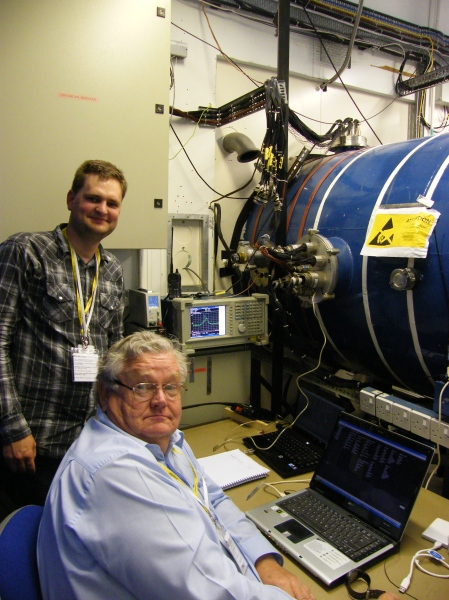 Wouter (standing) and Jim logging data beside the Thermo Vac chamber.